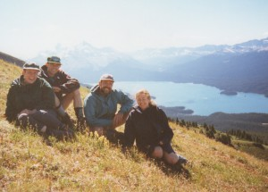 During our unforgettable trip to Canada. On the range above Banff with Swiss friends, Erwin and Sylvie.