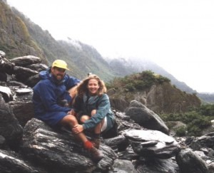 The first time I saw a Glacier - on New Zealand's west coast with my partner, Mark.